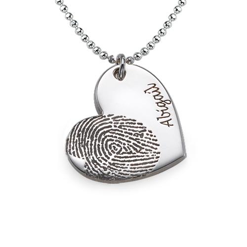 Sterling Silver Fingerprint Heart Necklace