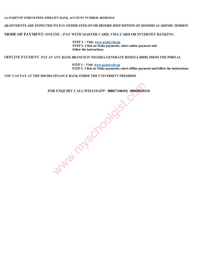 Godfrey Okoye University School Fees 2019/2020