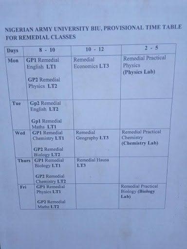 Naub Timetable