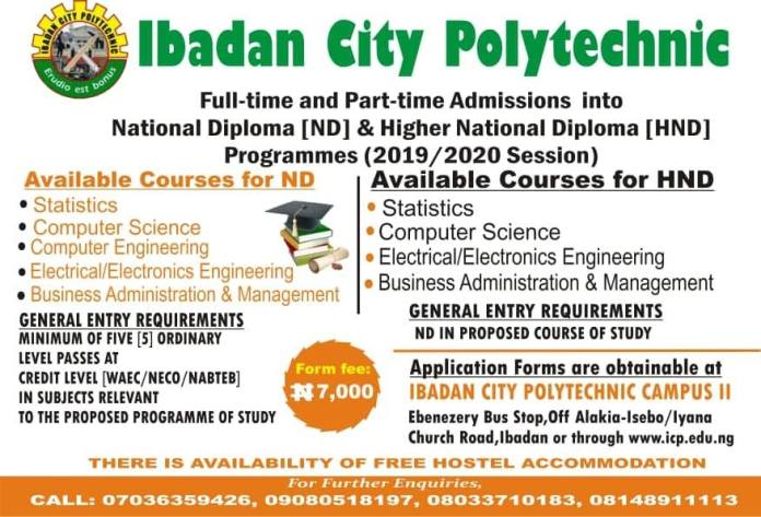 icp Admission advert - Ibadan City Polytechnic (ICP) ND & HND Part-Time / Full-Time Admission Form for 2019/2020 Academic Session [FREE HOSTEL ACCOMMODATION]