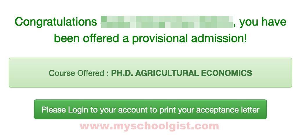 udusok postgraduate admission status