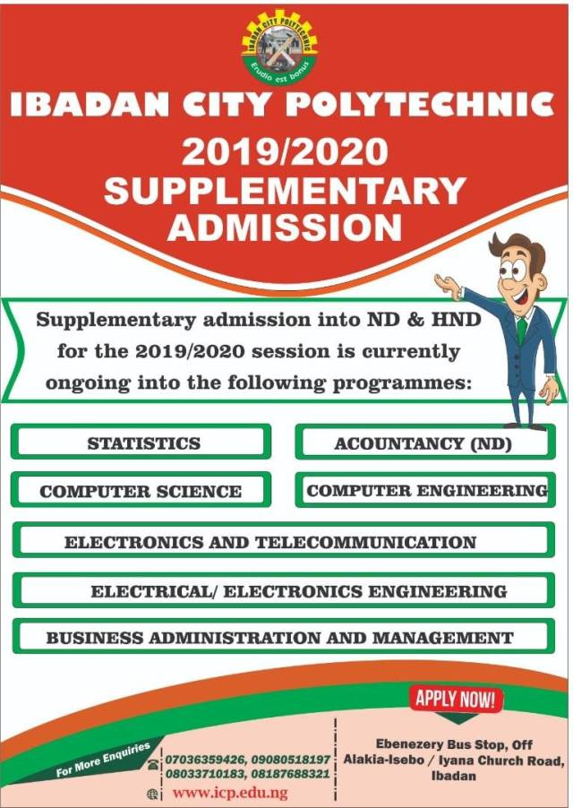 Apply Ibadan City Poly Supplementary Form