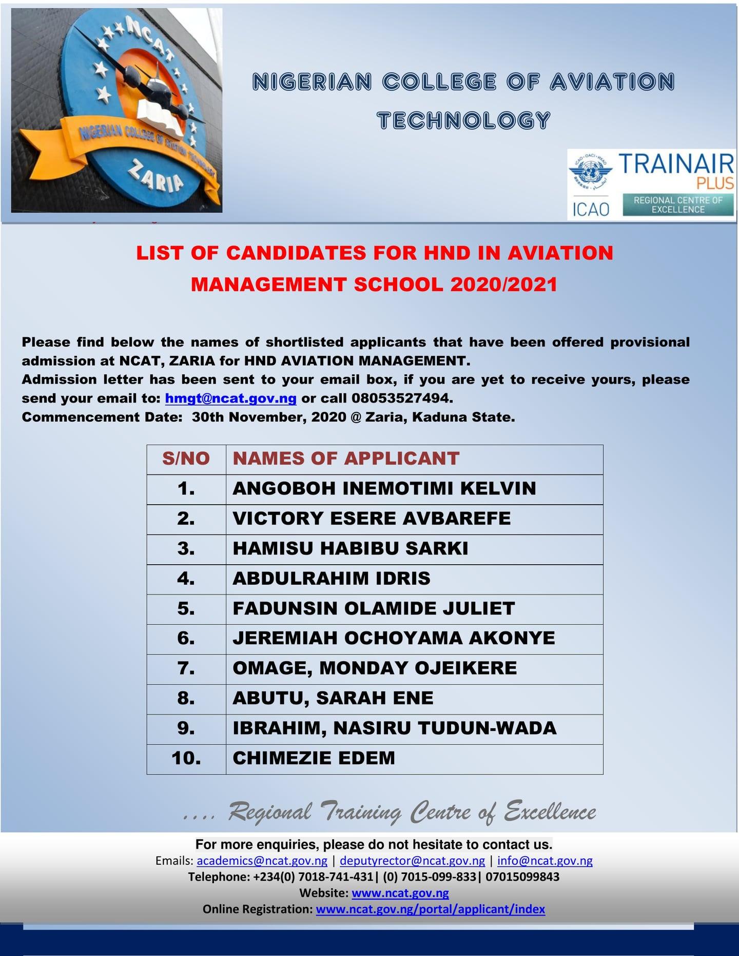 NCAT HND Admission List