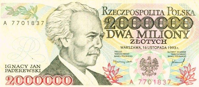 2-milionowy banknot z 1993 roku