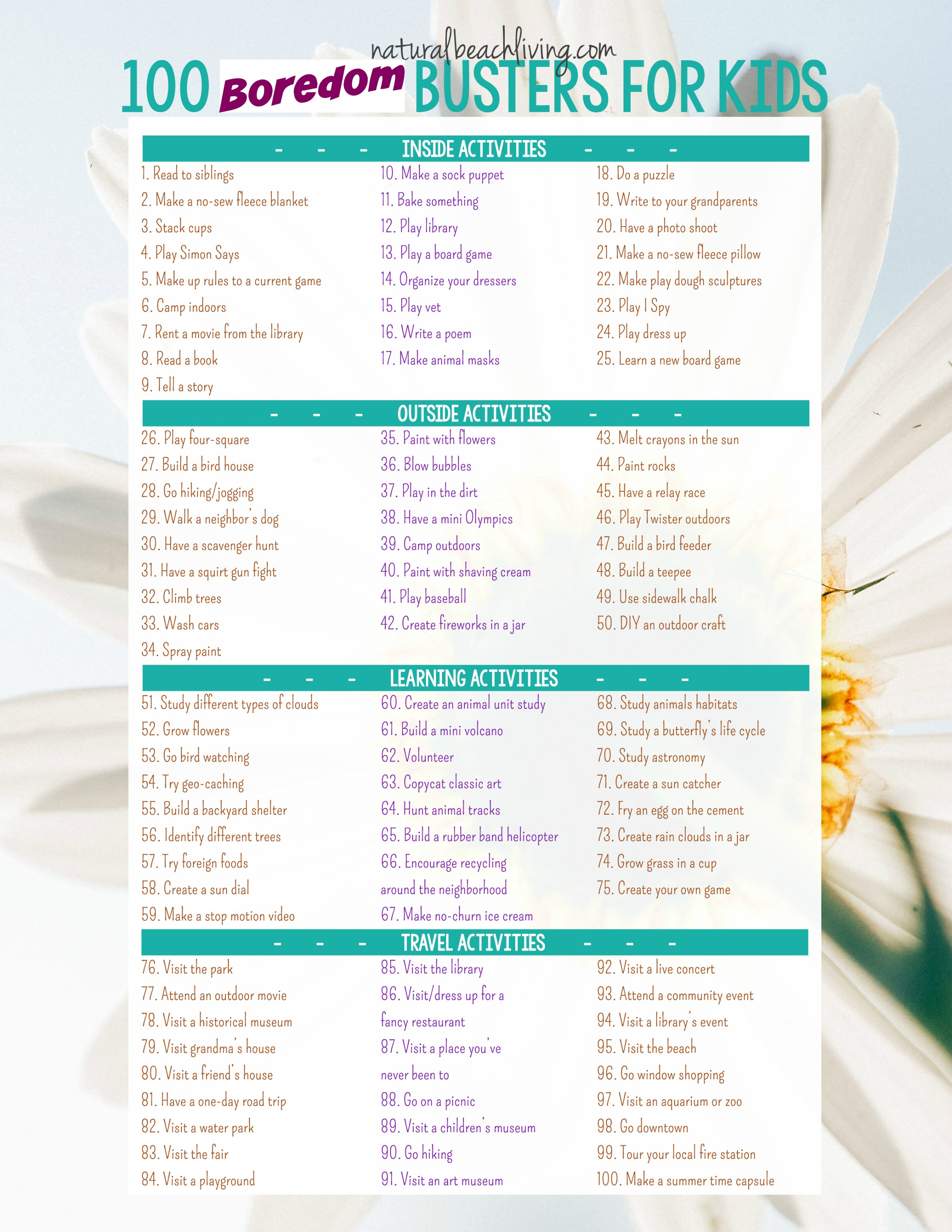 100 Boredom Busters Summer Activities Free Printable