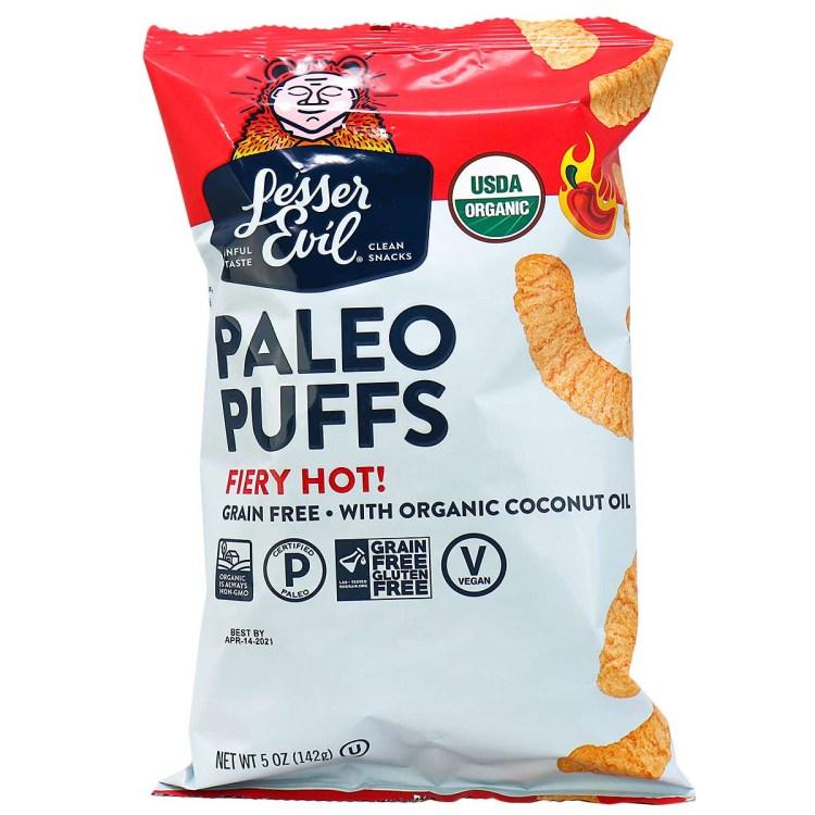 Lesser Evil Fiery Hot Spicy Paleo Puffs