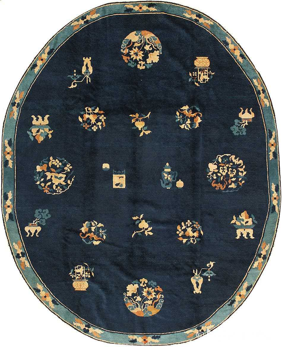 Oval Antique Chinese Oriental Rug 43741 Nazmiyal Antique Rugs