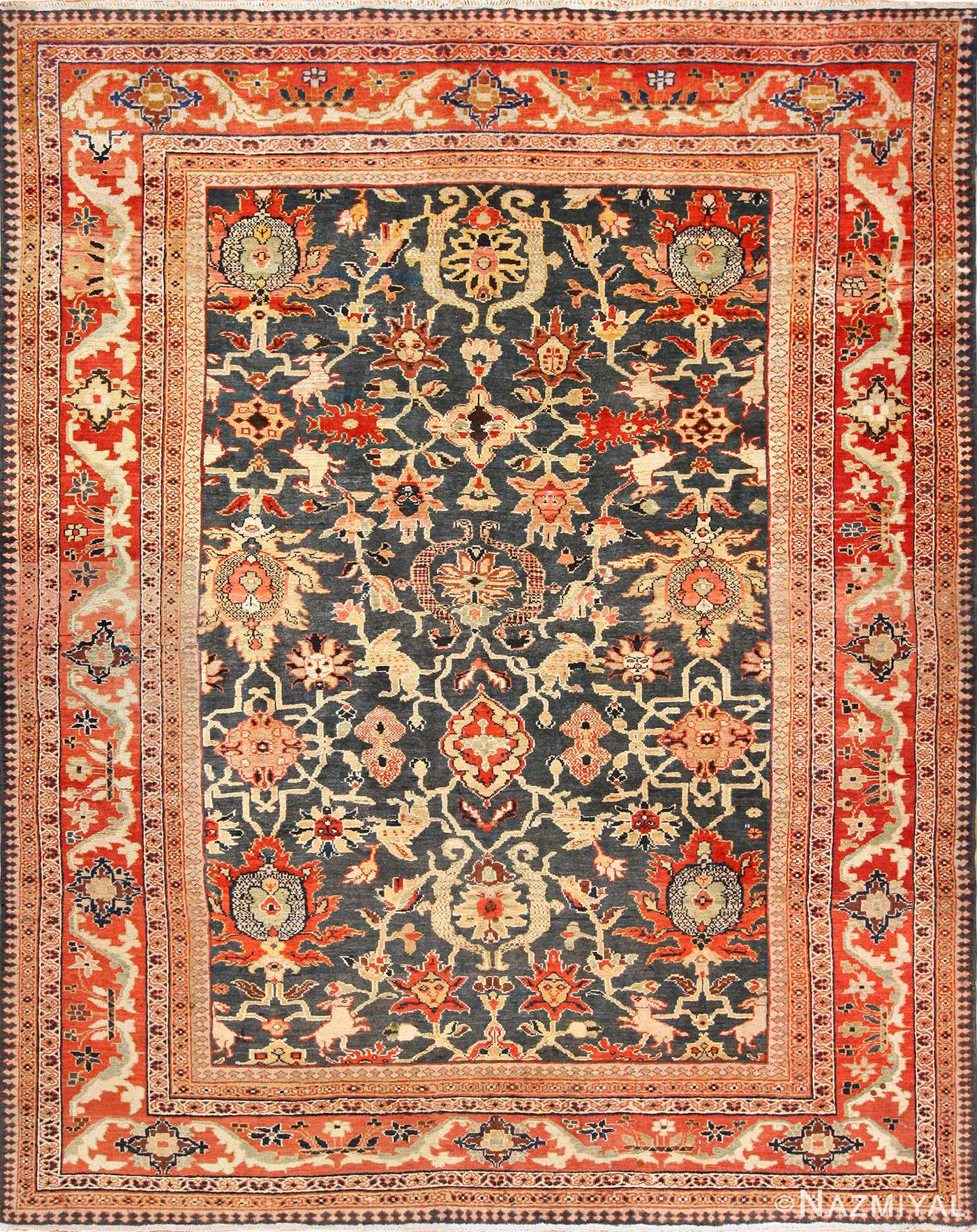 Green Color Antique Persian Ziegler Sultanabad Rug 49389 Nazmiyal