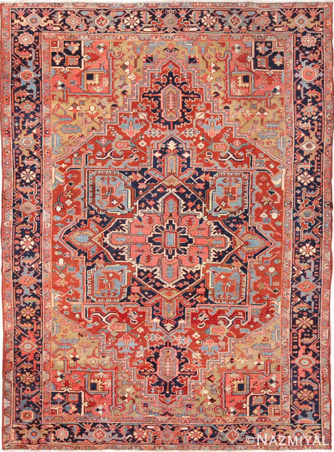 Antique Geometric Persian Heriz Rug 49632 Nazmiyal Persian Rugs