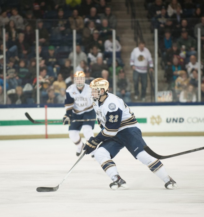 Sophomore left wing Mario Lucia looks to receive the puck during Notre Dame's 6-3 victory over Lake Superior State on Jan. 17.