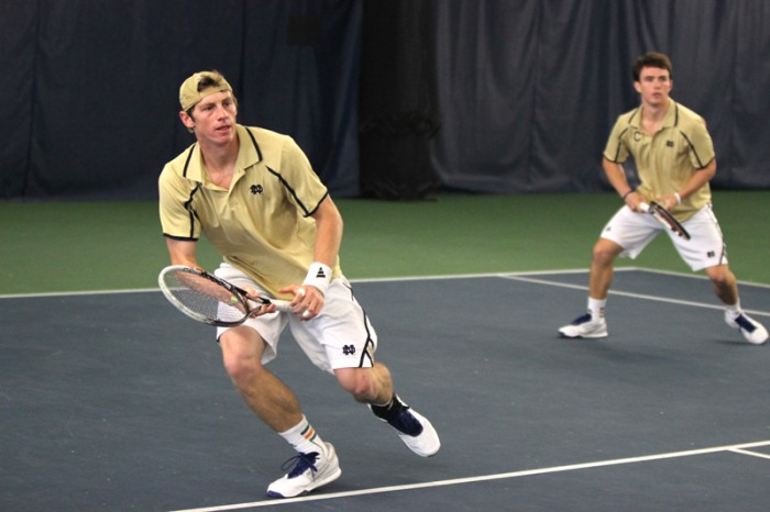 Irish sophomore Alex Lawson competes in a doubles match against MSU on Sunday. Notre Dame only lost one doubles match this weekend.