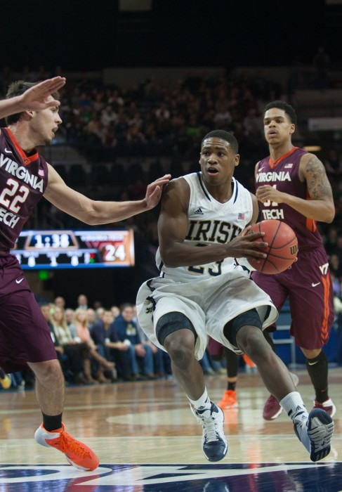 Irish freshman guard Demetrius Jackson drives to the basket during Notre Dame's 70-63 win over Virginia Tech on Sunday in the Purcell Pavilion.