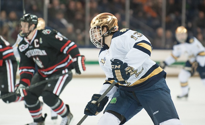 Freshman center Vince Hinostroza skates ahead against Northeastern in Notre Dame's 4-0 loss Friday.