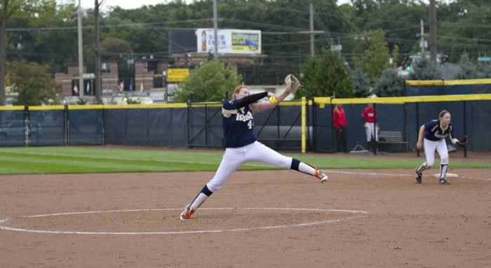 Senior righthander Laura Winter pitches in an exhibition game against Illinois State on Sept. 15. Winter recorded eight strikeouts against BYU on Thursday.