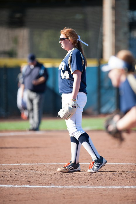 Irish senior pitcher Laura Winter stands in the circle during a matchup against Purdue on Sept. 22.