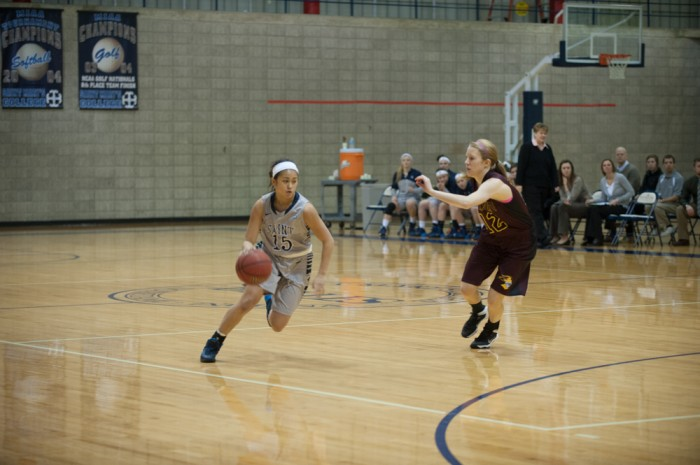 Saint Mary's freshman guard Heather Pesigan drives during the Belles' 95-68 loss to Calvin on Jan. 15.