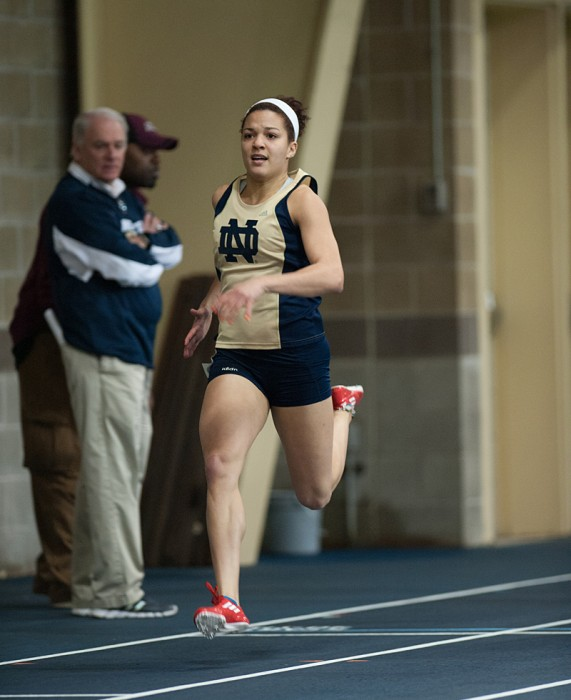 Irish junior Kaila Barber races at the Notre Dame Invitational on Jan. 25 in the Loftus Center. Barber