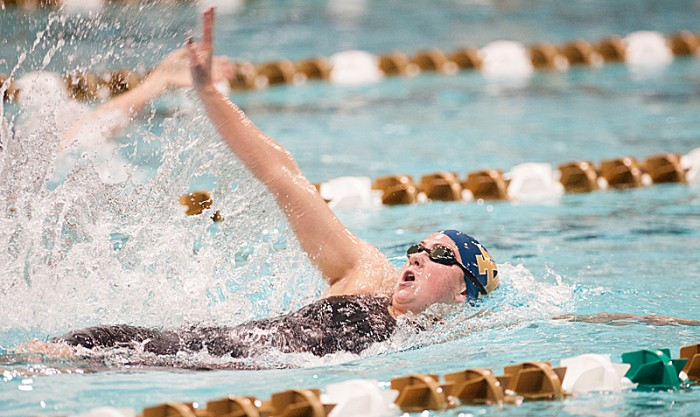 Freshman Katie Miller competes in the 200-yard individual medley in the Shamrock Invitational on Jan. 31 at Rolfs Aquatic Center.