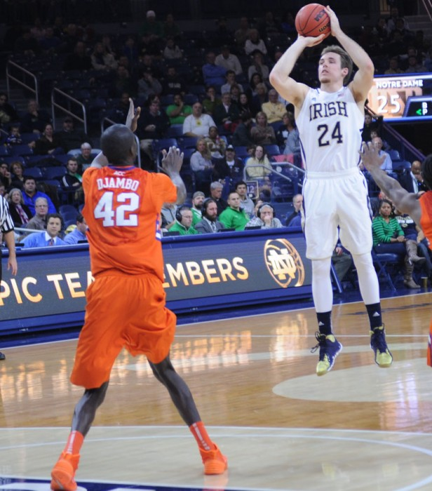 Irish junior guard Pat Connaughton rises up for a jumpshot in Notre Dame's 68-64 win over Clemson on Feb. 11.