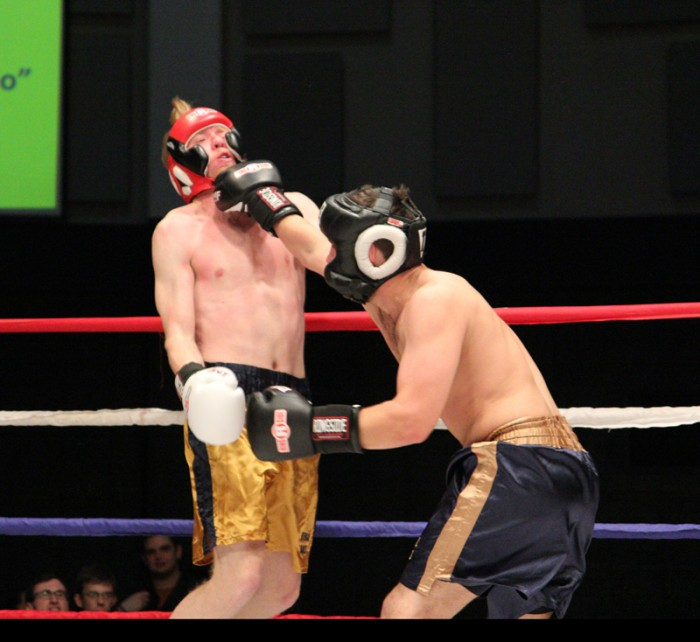 Sebastian de las Casas and David Howe battle during the quarterfinal rounds of the Bengal Bouts. de las Casas emerged victorious.