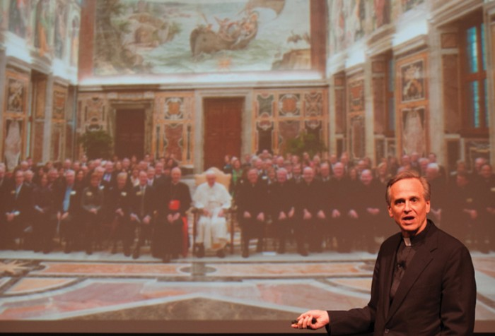 Jenkins 20140225-20140225, Annette Sayre, Father Jenkins University Initiatives Talk, Washington Hall