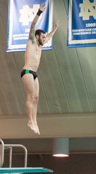Irish junior diver Nick Nemetz dives during the Shamrock Invitational in Rolfs Aquatic Center on Jan. 31.