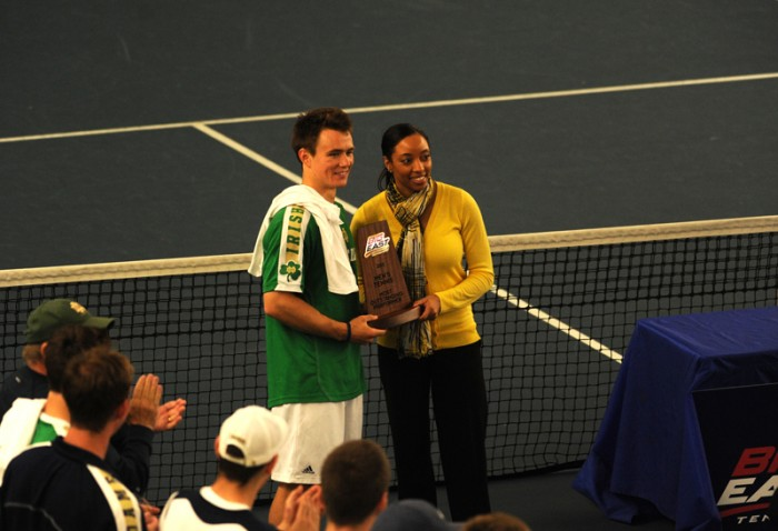 Irish senior Greg Andrews accepts the award for Most Outstanding Preformer at the Big East conference championship on Apr. 21, 2013. Andrews lost in both singles and doubles on Wednesday at Illinois.