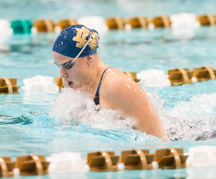 Irish senior swimmer Emma Reaney competes in the Irish Invitational at Rolfs Aquatic Center on Jan. 31.