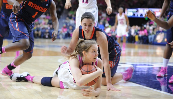 Irish junior guard Madison Cable dives for a loose ball during Notre Dame's 101-62 home win over Syracuse on Feb. 9.