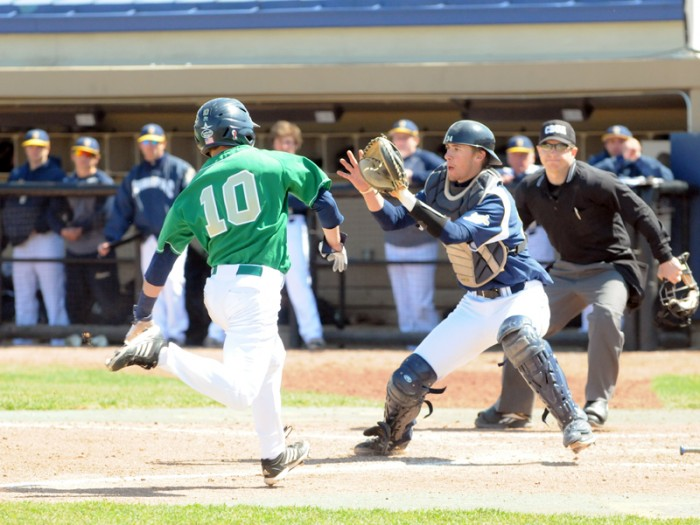 Irish junior designated hitter Conor Biggio slides into home during a game against Quinnipiac on April 21, 2013 at Frank Eck Stadium. Biggio scored a run during the 4-1 win over Valparaiso on Wednesday.