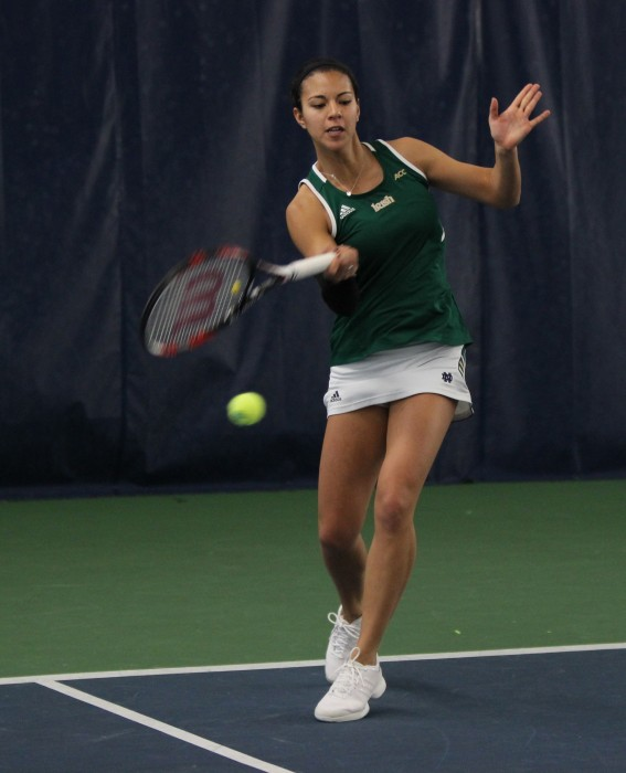 Senior Britney Sanders hits a wide forehand in her doubles match against Georgia Tech on Feb. 21. Sanders and doubles partner sophomore Quinn Gleason fell 3-6, 6-3, 7-5 to their opponents.
