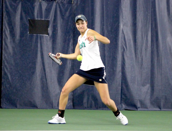 Irish sophomore Quinn Gleason hits a ball during Notre Dame's 4-3 victory over Indiana in the Eck Tennis Pavilion on Feb. 2. Gleason won both her singles match and doubles match Friday against Duke.