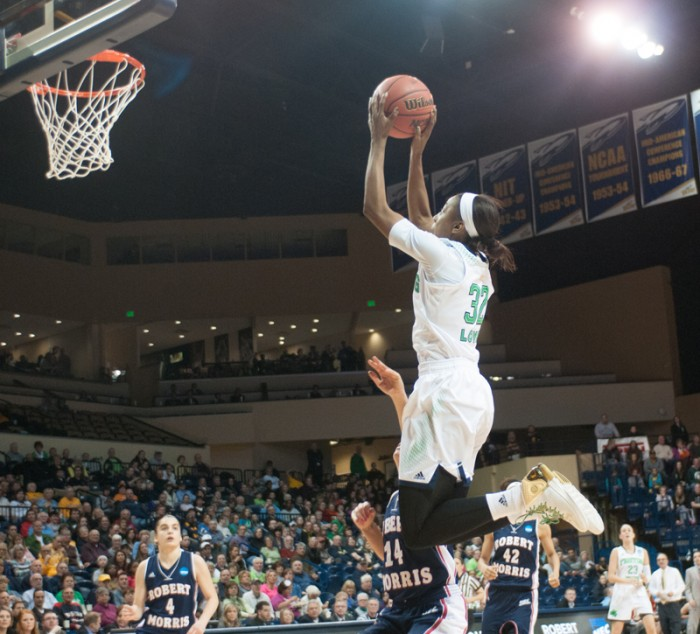 Irish sophomore guard Jewell Loyd goes up for a jumpshot during Notre Dame's 93-42 win over Robert Morris in the first round of the NCAA tournament on Mar. 22.