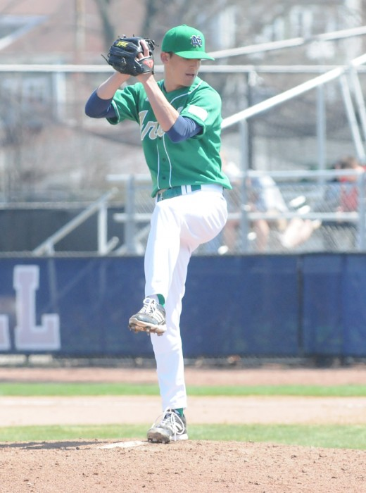 Irish senior pitcher Sean Fitzgerald winds up in a game against Quinnipiac on April 21, 2013. Fitzgerald allowed just four hits and one unearned run but got the loss in Friday's 1-0 defeat to Wake Forest.