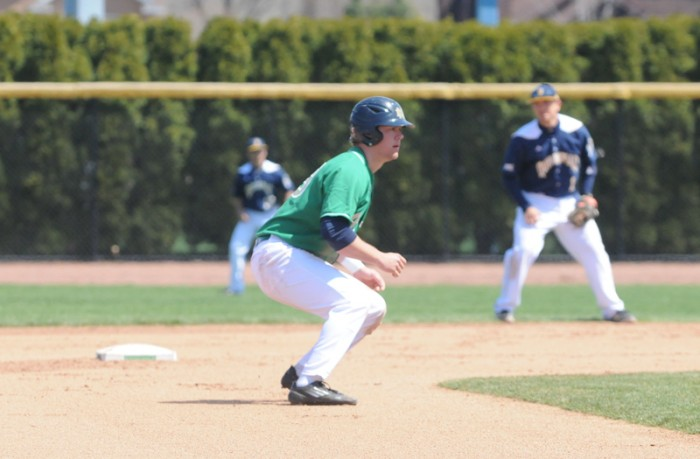 Irish junior outfielder and first baseman Ryan Bull leads off against the Hokies. The Irish won their first game Friday before dropping two straight.
