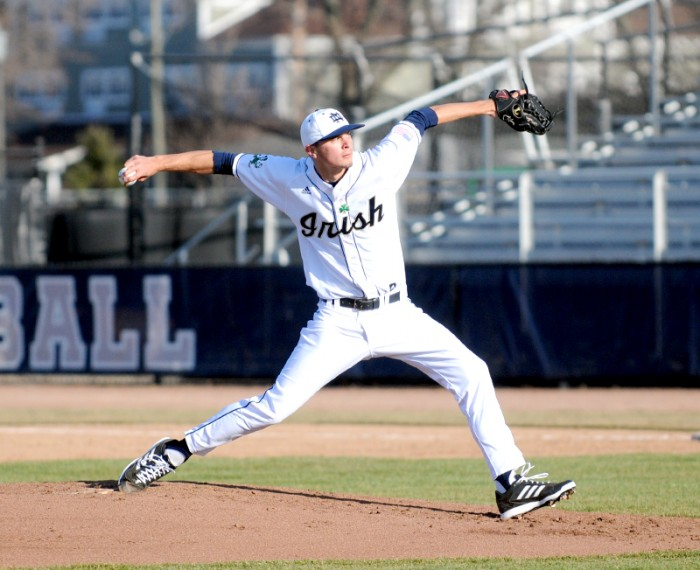 Irish junior pitcher Matt Ternowchek throws a pitch during Notre Dame's 6-2 victory over UIC on April 2, 2013.