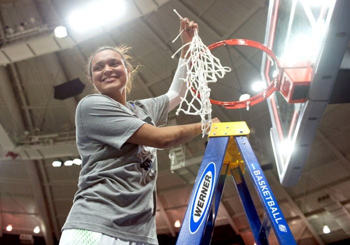 Irish senior guard Kayla McBride cuts down the net in Purcell Pavilion after Notre Dame defeated Baylor, 88-69, in the Elite Eight on Monday to advance to the Final Four in  Nashville, Tenn. Notre Dame squares off with Maryland on Sunday night in one of the national semifinals.