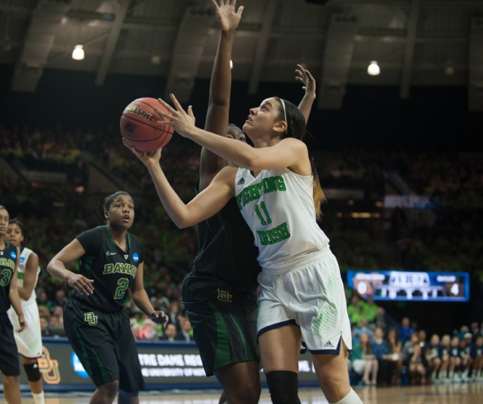 Irish senior forward Natalie Achonwa goes in for a layup during Notre Dame's 88-69 victory over Baylor on Monday.  Achonwa tore her ACL in the second half of Monday's contest.