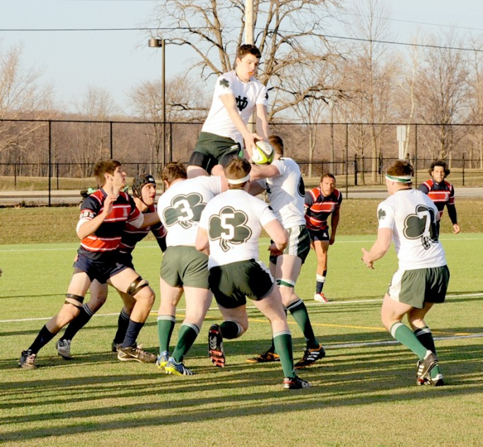 Irish and Arizona rugby players battle for the ball during the Parseghian Cup.