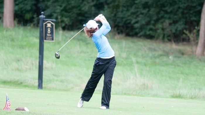 Belles junior Alice Heffernan hits a shot during the O'Brien National invitational at the Warren Golf Course.