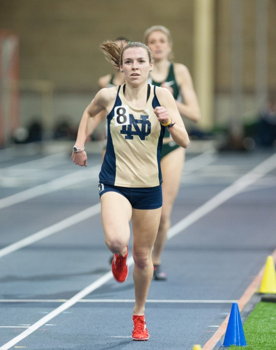 Senior Alexa Aragon pushes to the finish during the Notre Dame Invitational on jan. 25 at the Loftus Sports Center. Aragon finished sixth in the first heat of the women's 3000-meter steeplechase over the weekend at the Stanford Invitational.