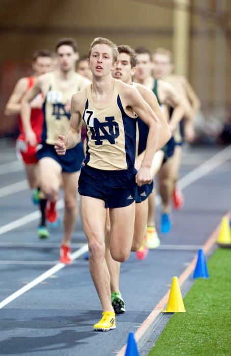 Irish graduate student Nick Happe leads the field during the Notre Dame Invitational on Jan. 25. Happe ran the Meyo Mile in under four minutes at the Meyo Invitational on Feb. 8.