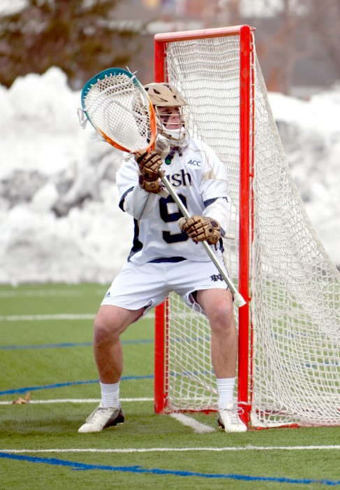 Junior goalkeeper Conor Kelly defends the goal during Notre Dame's 8-7 loss to Penn State on Feb. 22 at Arlotta Stadium.