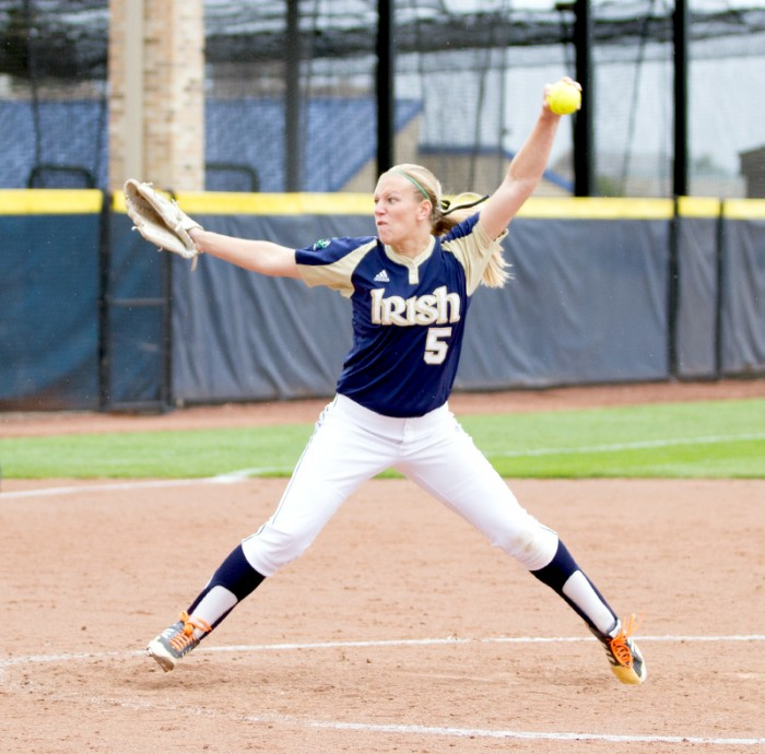 Sophomore pitcher Allie Rhodes delivers a pitch during Notre Dame's fall exhibition game against Illinois State on Sept. 15.