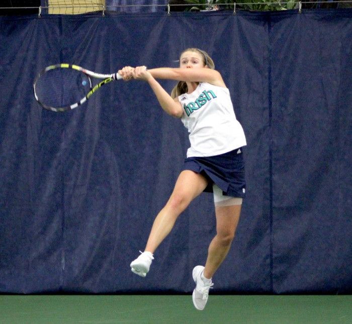 Sophomore Monica Robinson returns a forehand in Notre Dame's 4-3 victory over Indiana on Feb. 2. Robinson lost her individual match to Sophie Garre, 4-6, 6-3, 1-0.