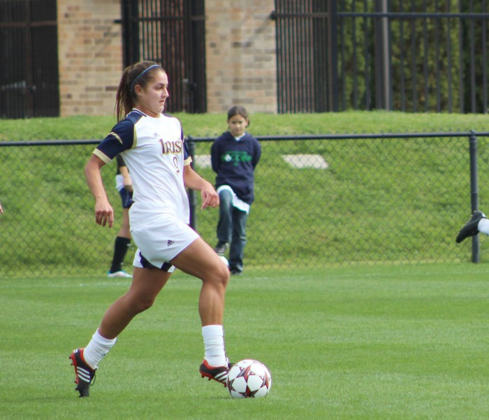 Irish senior forward Lauren Bohaboy looks to pass while dribbling downfield during Notre Dame's 3-0 victory over Pittsburgh on Sept. 29. Bohaboy has scored twice in the 2014 season.