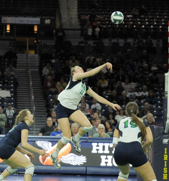 Irish senior outside hitter Meg Vonderhaar follows through after a dig during Notre Dame's 3-1 victory over Virginia Tech on Nov. 20.