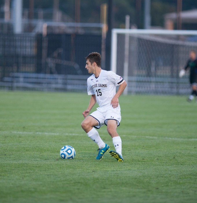 Irishjunior midfielder Evan Panken controls the ball and looks to pass during Notre Dame's 1-0 loss to Kentucky on Monday night. Panken ended the game with two shots on goal.