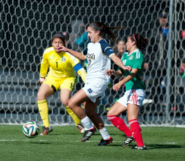 Notre Dame senior forward Lauren Bohaboy battles for possession with a U-20 Mexican National Team defender in front of the net on April 25. The Irish would defeat El Tri by a score of 2-0.
