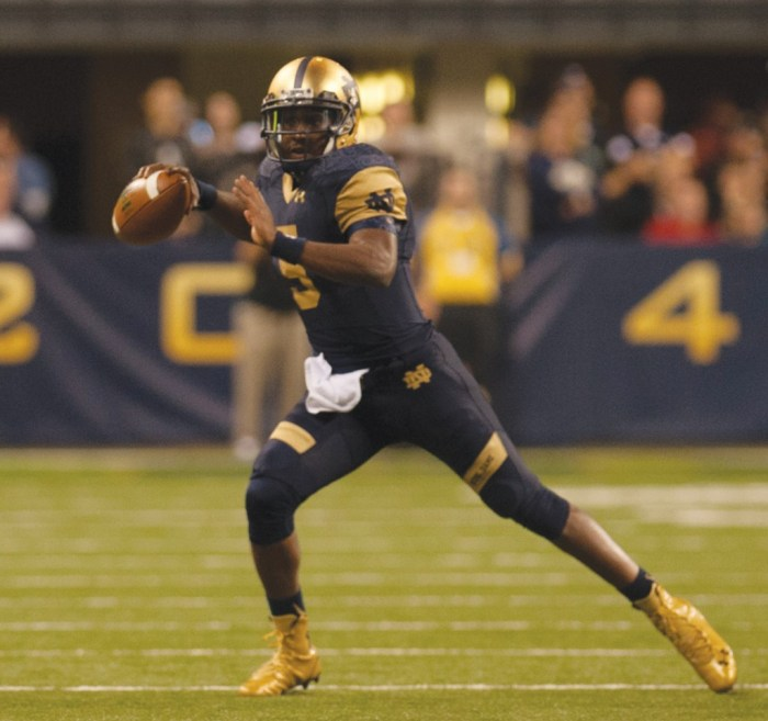Irish senior quarterback Everett Golson produced 315 yards of total offense and three touchdowns in Notre Dame's 30-14 win over Purdue in the Shamrock Series at Lucas Oil Stadium in Indianapolis.